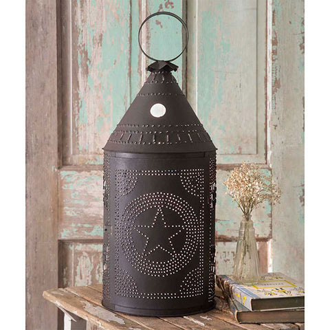 The Revere Large Painted Colonial Tin Lantern with Punched Star Design - 2ft Tall