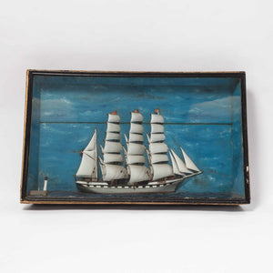 19th Century French Ship Diorama 'Louise' Shadow Box