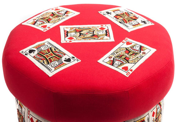 Whimsical Playing Cards Ottoman