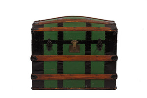 Antique Green Dome Carriage Trunk