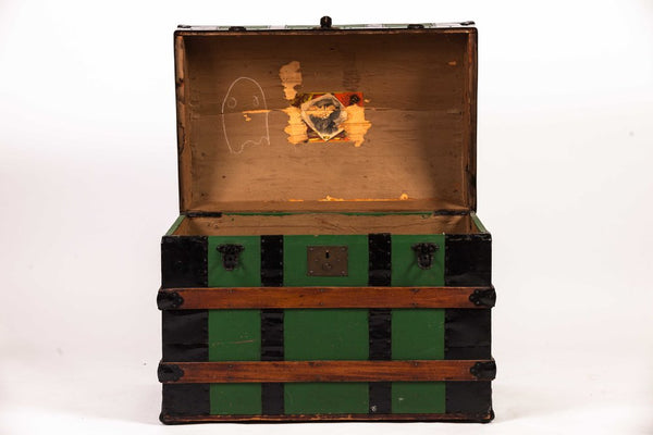 Antique Vintage Green Dome Carriage Storage Trunk