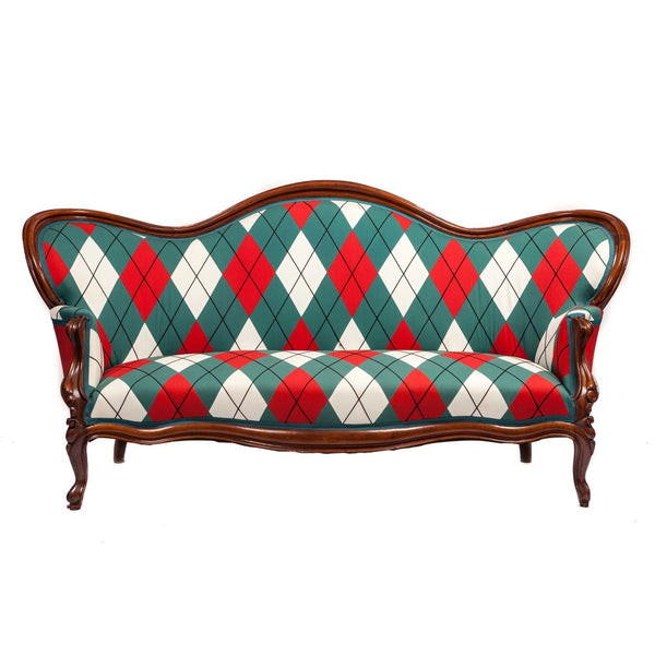 Victorian Settee Upholstered in Custom Diamond and Baratta Argyle Patchwork
