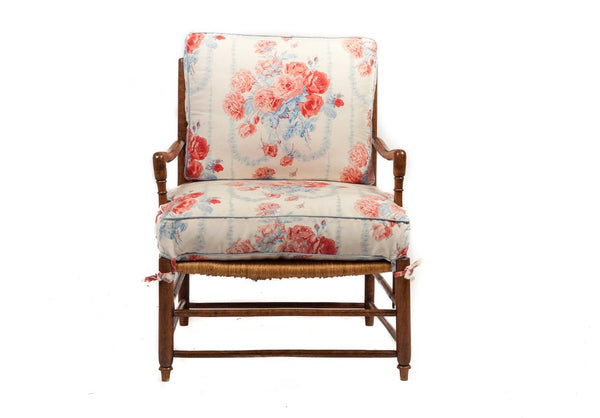 18th-Century Country French Rush Seat Bergere and Ottoman
