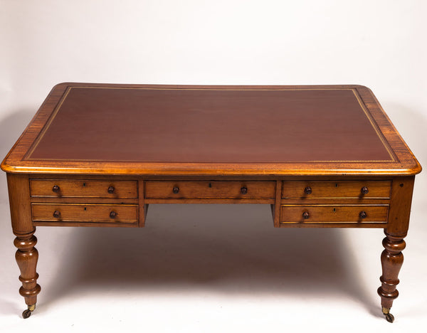 1820s English Regency Partner's Large Desk Table with Drawers