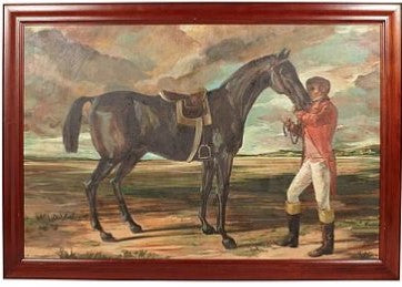 Pair of Framed Horse and Rider Paintings