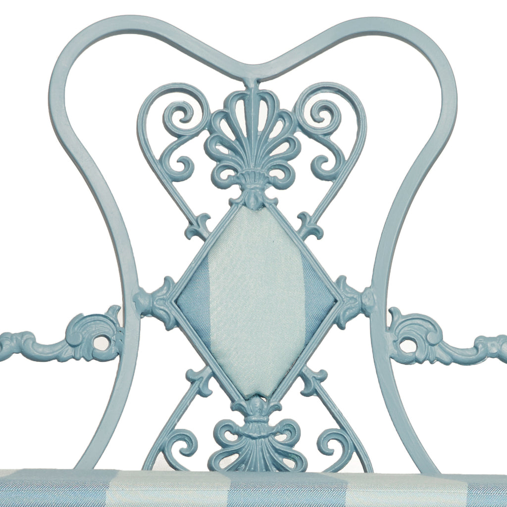 French Style Blue Painted Metal Garden Bench Anthony Baratta Llc
