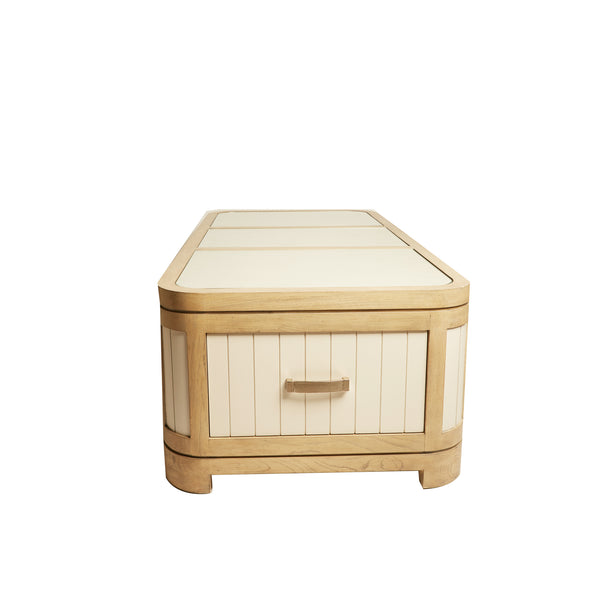 Thomasville White Planked Wood Trunk Coffee Table