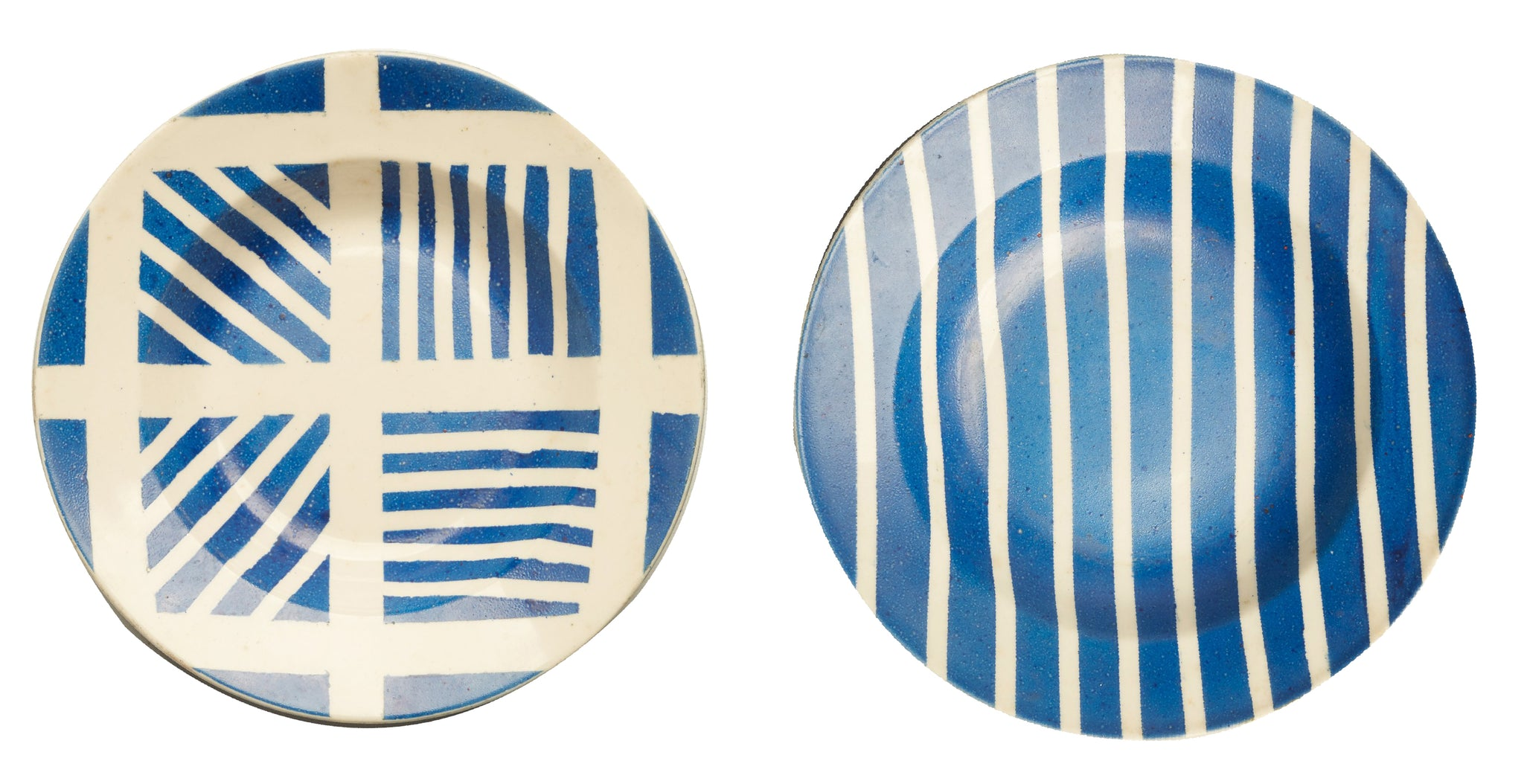 Pair of Contemporary Blue Geometric Plates