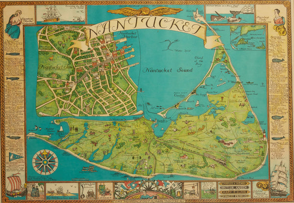 Vintage Nantucket Map with Original Wood Frame