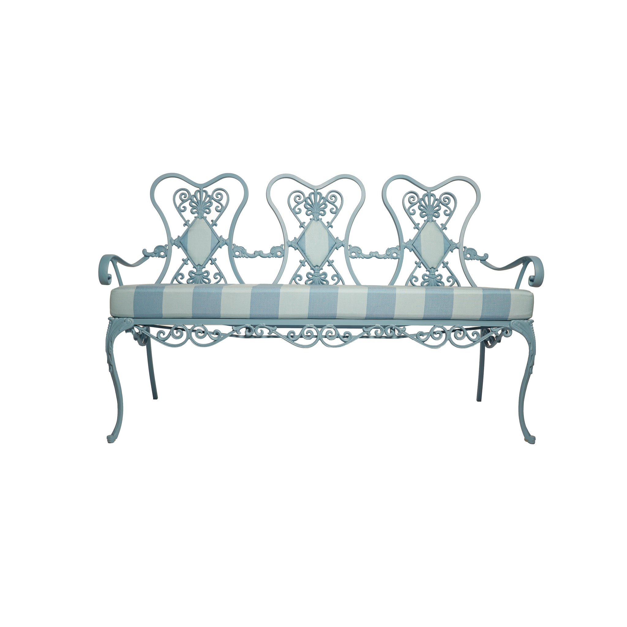 Picture of: French Style Blue Painted Metal Garden Bench Anthony Baratta Llc
