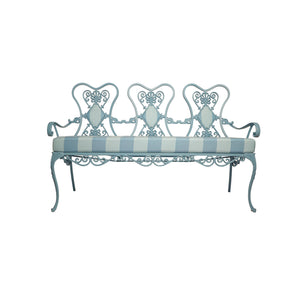 French-Style Blue-Painted Metal Garden Bench