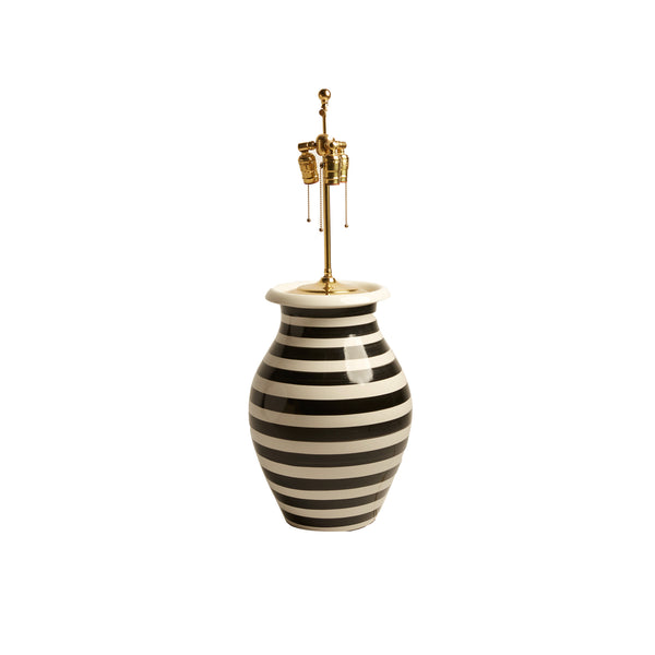 Pair of Italian Black and White Striped Ceramic Lamps