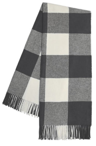 Charcoal Buffalo Check Pattern Italian Throw Blanket