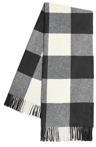 Graphite Buffalo Check Pattern Italian Throw Blanket