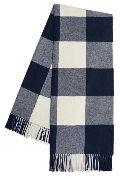 Navy Buffalo Check Pattern Italian Throw Blanket