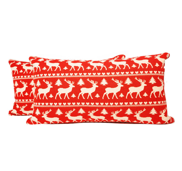 Reindeer Motif Lumbar Throw Pillows