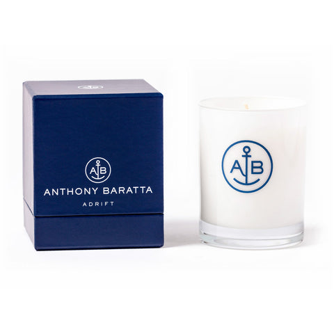 "Nautical Anchor Logo Candle - Signature Anthony Baratta Candle ""ADRIFT"""
