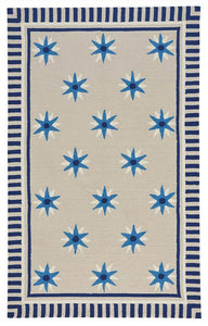 Compass Quilt Area Rug: Nautical Rug in Blue and Beige