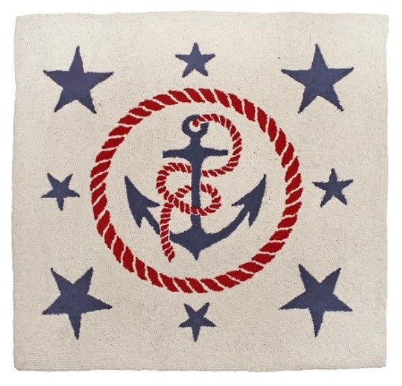 Anchor, Rope, and Stars Square Nautical Rug