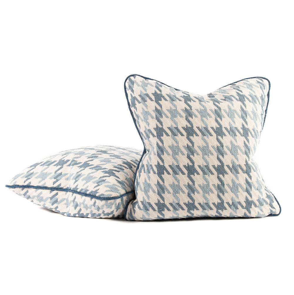 Blue and White Chenille Houndstooth Throw Pillows