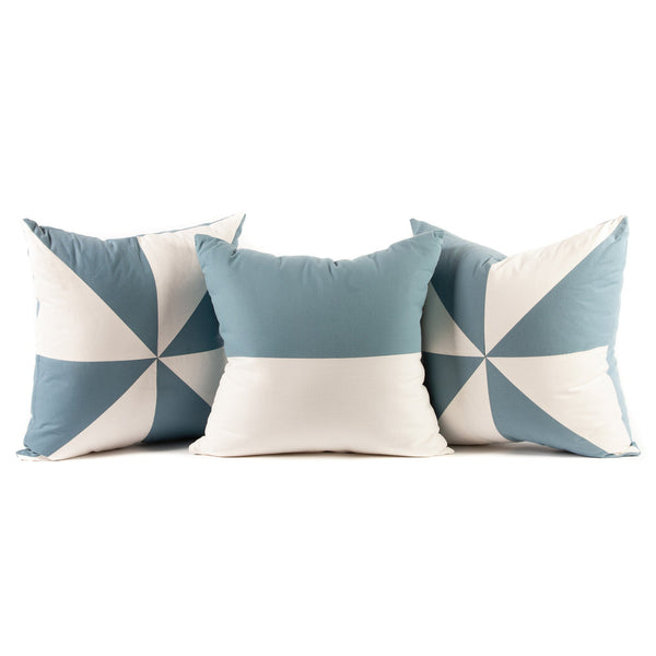 Pinwheel Flag Pattern Throw Pillows in Blue and White