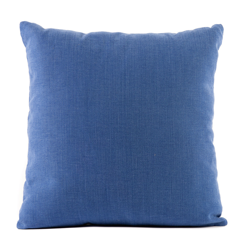 Solid Blue Cotton Throw Pillow