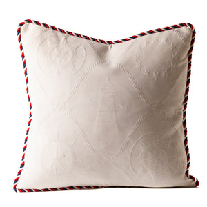 Nautical Rope Matelasse Throw Pillow in White