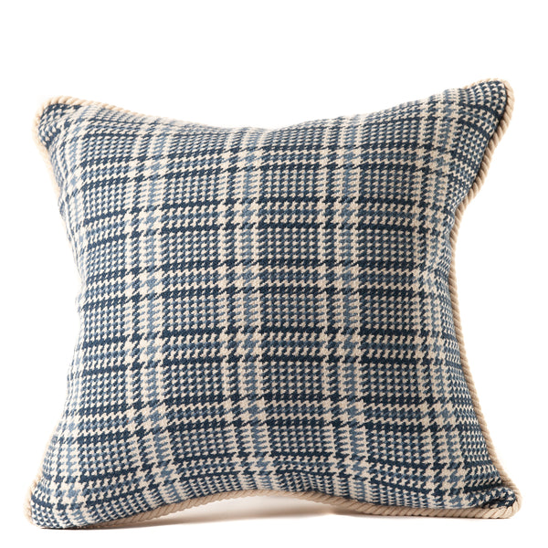 Blue and White Plaid Throw Pillow