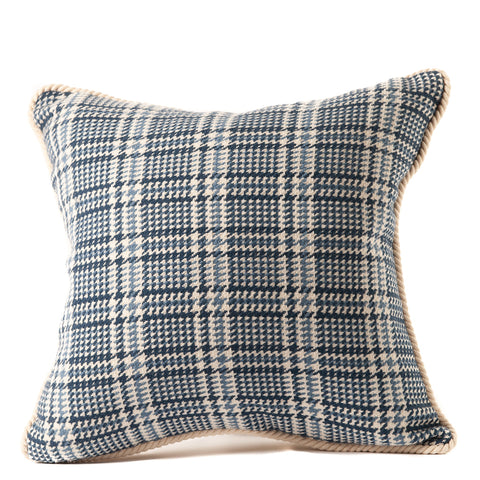 Blue and White Plaid Pillow