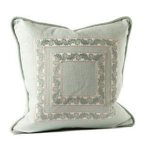 Seafoam Linen Throw Pillow with Ribbon Tape Applique