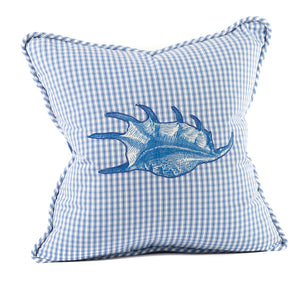 Nautical Shell Applique Throw Pillow