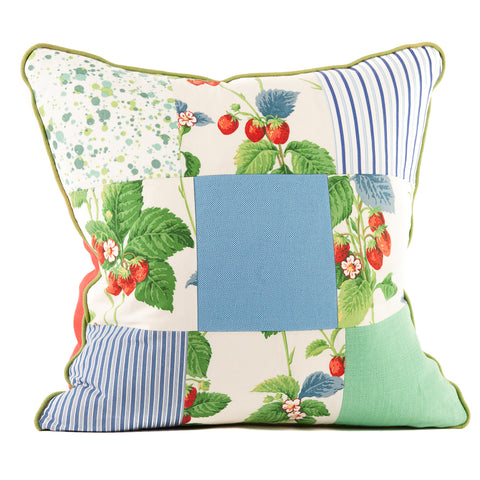 Strawberry Patchwork Throw Pillow