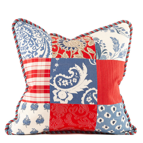 Red, White and Blue Patchwork Prints Pillow Red Blue Rope Cord