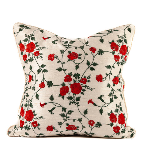 Red Rose Embroidery on White Silk Pillow