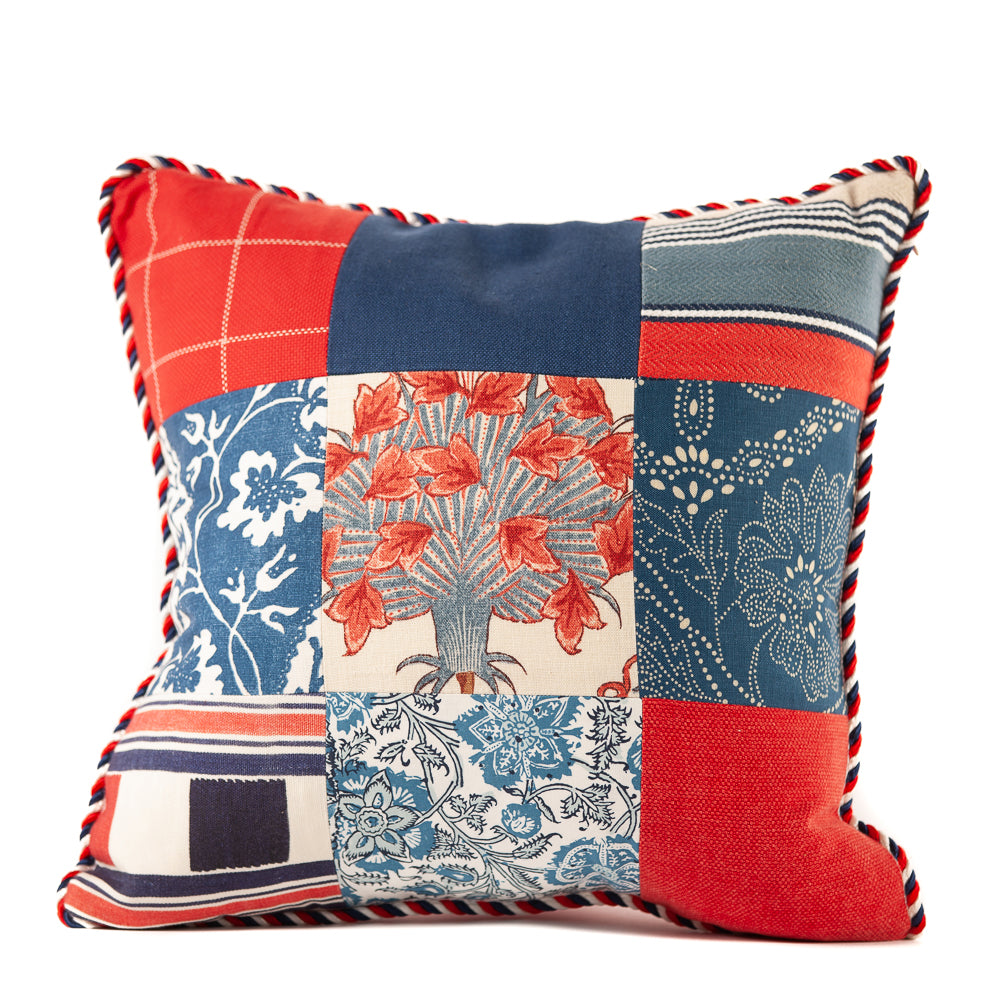 Red White and Blue Patchwork Prints Throw Pillow Red White Blue Rope Cord