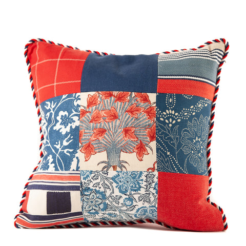 Red White and Blue Patchwork Prints Pillow Red White Blue Rope Cord