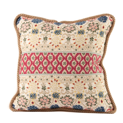 Indian Cotton Print Fabric Throw Pillow