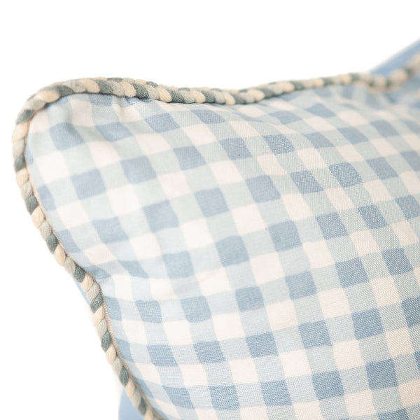 Blue and White Gingham Print Pillow