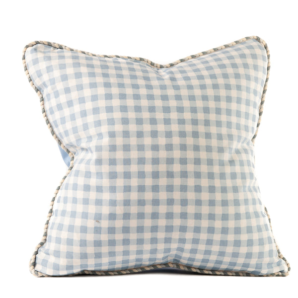 Blue and White Gingham Print Throw Pillow