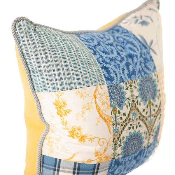 Yellow, Blue and White Patchwork Pillow