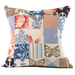Multi-Print Patchwork Throw Pillow