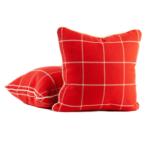 Bright Red Windowpane Woven Fabric Pillows