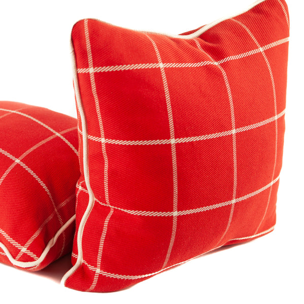 Bright Red Windowpane Woven Fabric Throw Pillows