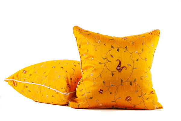 Saffron Gold Silk Embroidery Throw Pillows