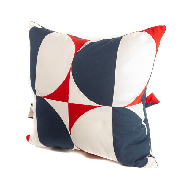 Half Moon Pattern Throw Pillows in Red, White and Navy