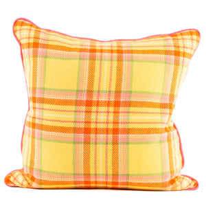 Yellow, Pink and Orange Custom Woven Plaid Pillow