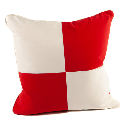Red and White Checker Nautical Flag Pillow