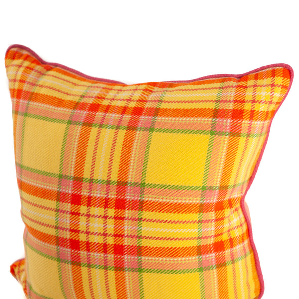 Yellow, Pink and Orange Custom Throw Woven Plaid Pillow