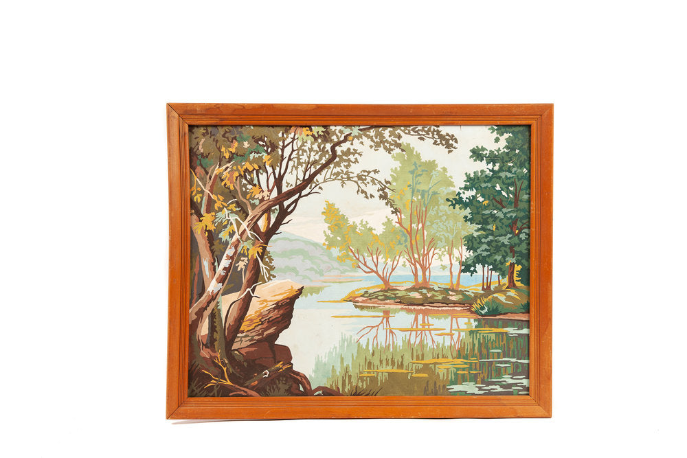 Vintage Paint by Number of Pond Scene