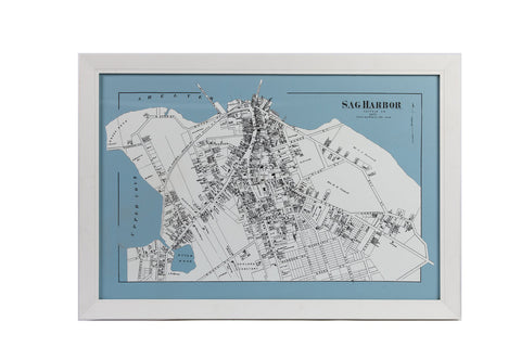 Blue and White Map of Sag Harbor